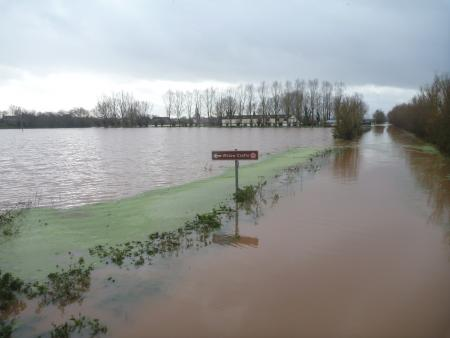 On the main Taunton road, where the River Tone is spilling out onto North Moor