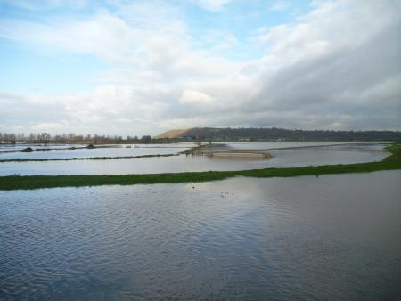 The River Parrett flowing over into the Sowy then out to Aller Moor